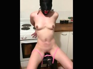 Bound slave gagged with vibrator torture hooded bondage slave