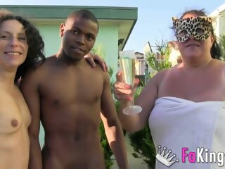An interracial threesome with a BBW outdoors bbw brunette hd